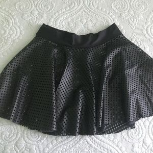 High Waisted Leather Look Mini Mesh Skater Skirt M